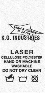 Laser care label example: 1 by 2 1/2 enlarged 200 percent.