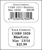 Sticker or price ticket tag with bar-code.